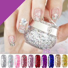 Nails Sequins Gel Colorful Shining Glitter Nail Polish Glue Bright Shimmer Palette UV DIY Art Decor Color