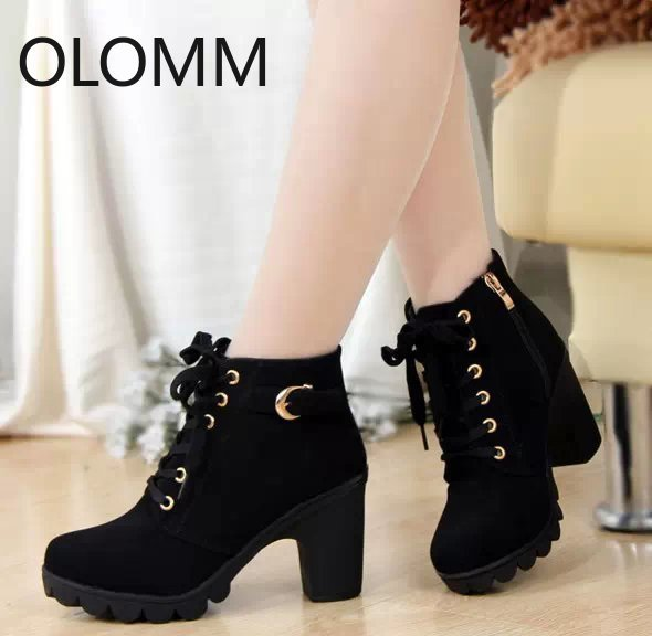 Size 35-41 New High Quality Women Boots Women Winter Boots High Quality Solid Lace-up Ladies PU Fashion Shoes Woman Ankle Boots