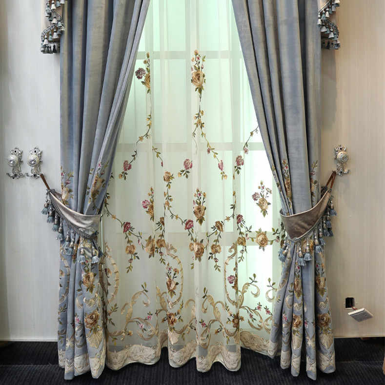 European Italian Velvet Embroidery Embroidered Curtains Finished Simple Modern Luxury Living Room Bedroom Window Shade