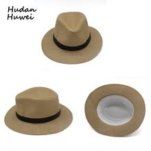97c541cea4aeec Men Women wide Brim paper straw jazz hat panama style Fedoras Outdoor Beach  Trave Sunhat chapeau
