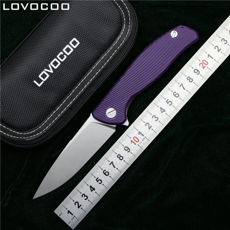 LOVOCOO Hati 95 Flipper folding knife D2 blade G10 TC4 Titanium handle camping hunting outdoor survival pocket knives edc tools green thorn made dark flipper folding knife d2 titanium blade g10 handle outdoor survival hunting camping fruit knife edc tools