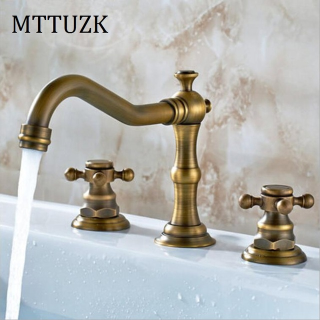 Mttuzk Antique Copper Bathroom Faucet For Hot And Cold Mixer Tap Sink Double Handle 3