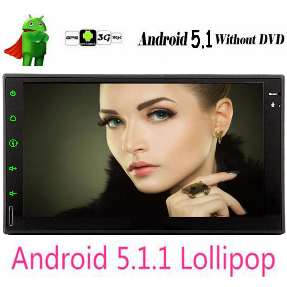 Double 2 Din Android 5.1 Car DVD GPS Universal Stereo Radio Player 7 inch Quad core 16GB Audio Headunit with Bluetooth Wifi GPS цена