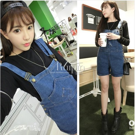 Big Sale!!new 2016 Summer Women's Denim Jumpsuit Shorts Casual Loose Jeans Overalls Shorts Girl's Cute Hot Pants Shorts Rompers 2014 new fashion reminisced men vintage trousers casual jeans wash capris pants loose plus size overalls zipper denim jumpsuit
