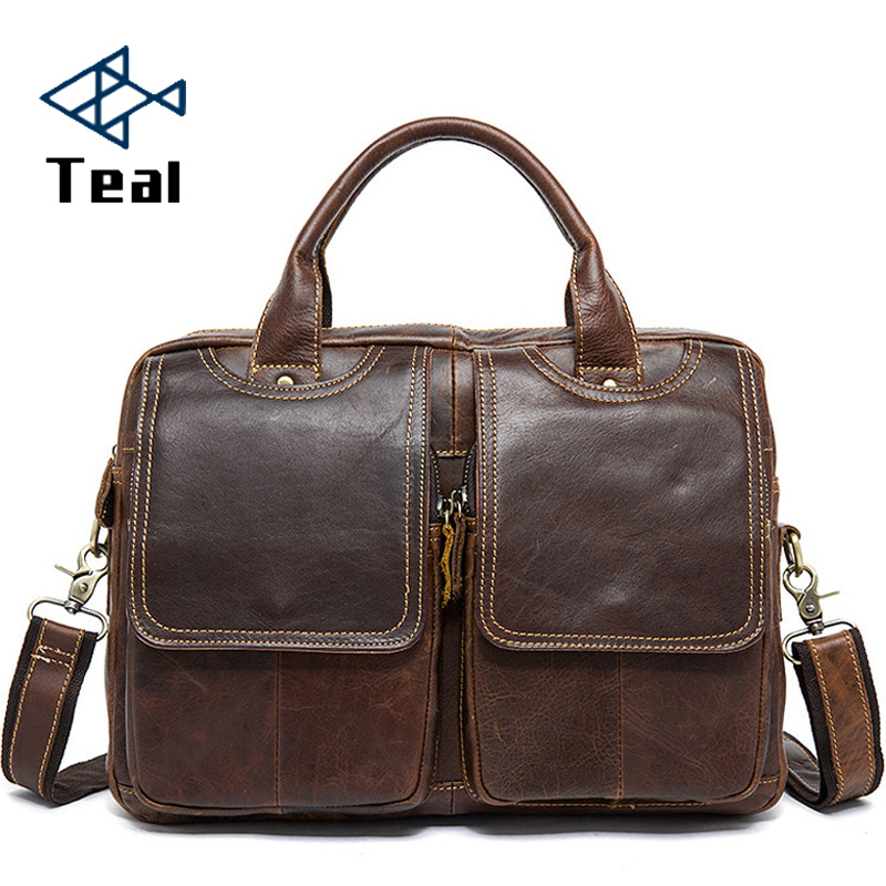 2020 New Genuine Leather Men Bag Briefcase Fashion Man Business Crazy Horse Skin Laptop Bag Large Capacity Designer High Quality