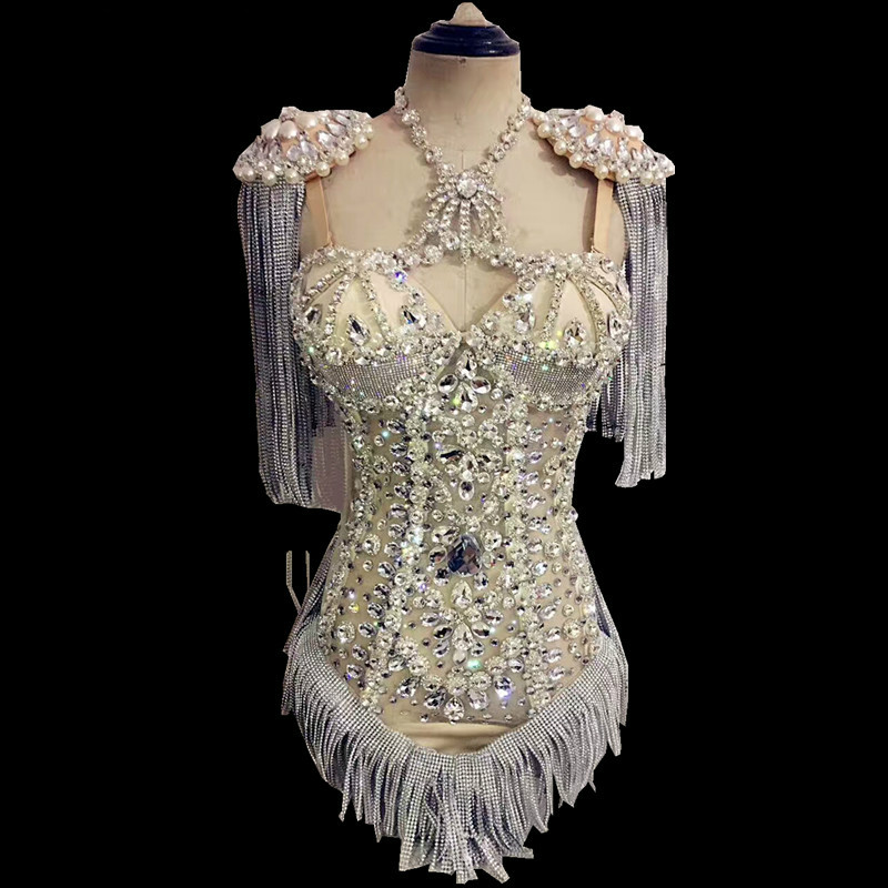 Sparkly Rhinestones Fringes Jumpsuit Women Birthday Celebrate Costume Tassel Bodysuit Performance Evening Dance Show Wear DJ DS