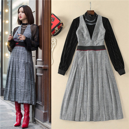 women two piece outfits high quality black long sleeve blouses and small plaid grey halter dresses 2 piece sets midi-calf dress цены онлайн
