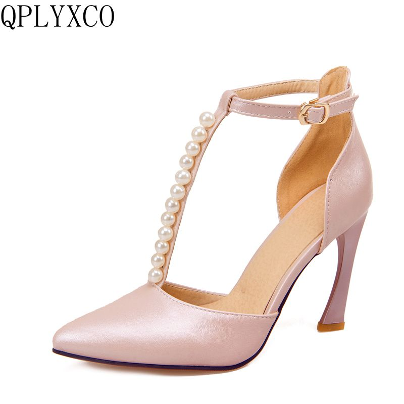 QPLYXCO Fahion Elegant Sandals shoes woman Big Size 32-43 Pointed Toe pumps Ankle Strap High Heels party wedding Shoes 2051-2 egonery flat sandals woman handmade genuine leather low heel pointed toe shoes cross tied shoes ankle strap big size flats 32 43