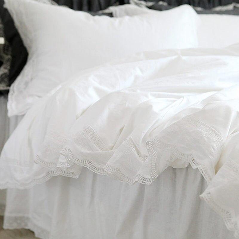 Conjunto de Cama Novo Superior Elegante Bordado Rendas Plissado Capa Edredão Confortável Roupa Cama Branca Disponível Personalizado Conjunto