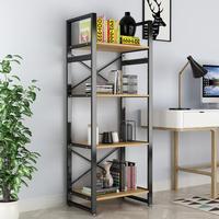 DEWEL 4 Tier Bookcase Vintage Industrial Rustic Bookshelf Rack Metal 61'' Bookcase Standing Storage Shelf Units for Home Office