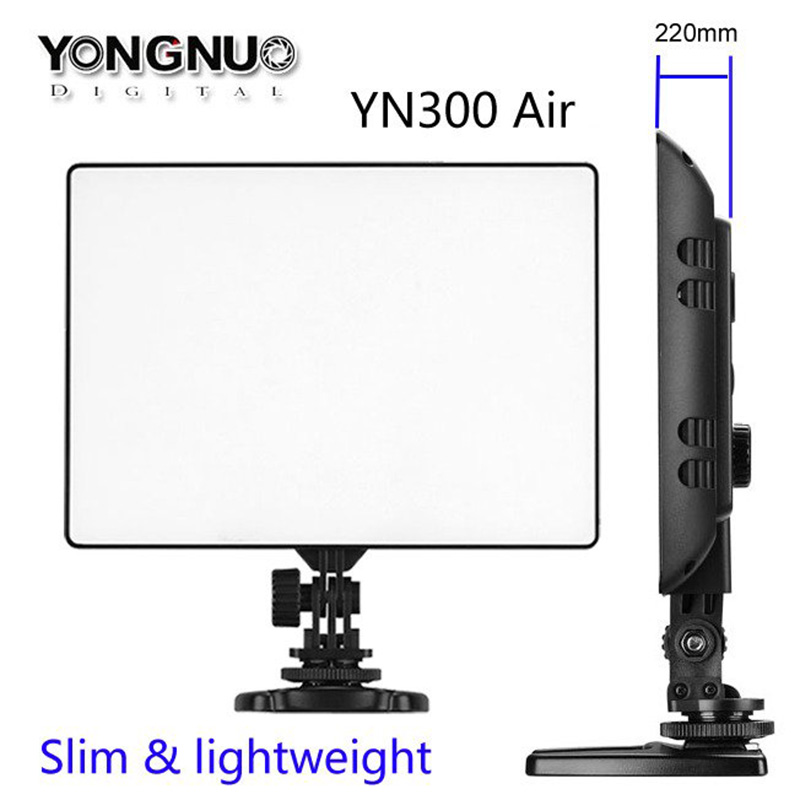 Newest YONGNUO YN-300 YN300 Air Ultra Thin On Camera Led Video Light Pad Panel for Canon Nikon Sony Panasonic DSLR Camcorder yongnuo yn300 air 3200k 5500k yn 300 air pro led camera video light with np f550 battery and charger for canon nikon