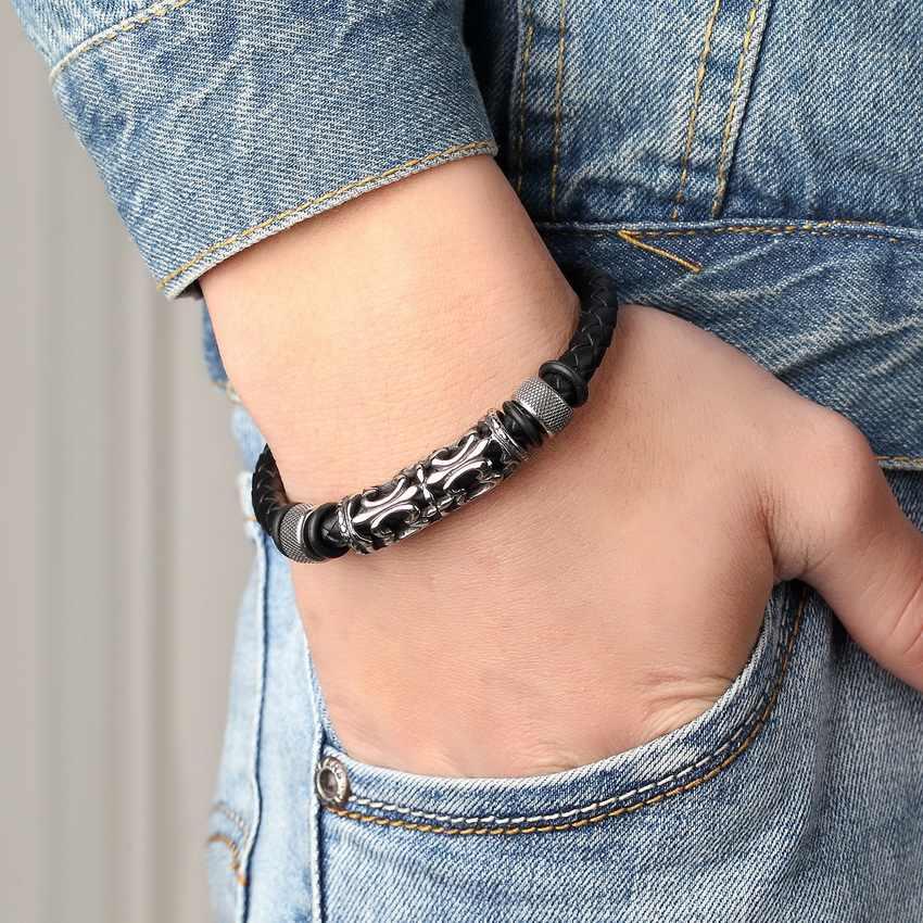 XQNI 2019 Fashion Stainless Steel Chain Genuine Leather Bracelet Men Vintage Bracelets & Bangles Male Braid Jewelry for women