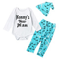 3 PCS Nautical Anchors Baby Boy Clothes Set Cute Slogan Long Sleeve Bodysuits + Beanie Hat + Teal Blue Legging Outfits YM39TZ
