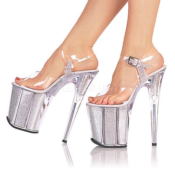 ФОТО Shiny 20CM Super Sexy High-Heeled Platform Crystal shoes 8 inch high heel shoes fashion Model sandals Fetish Shoes