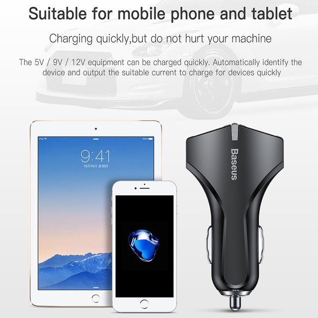 Baseus Quick Charge 3.0 5V 3A Fast Charging Dual USB Car Charger