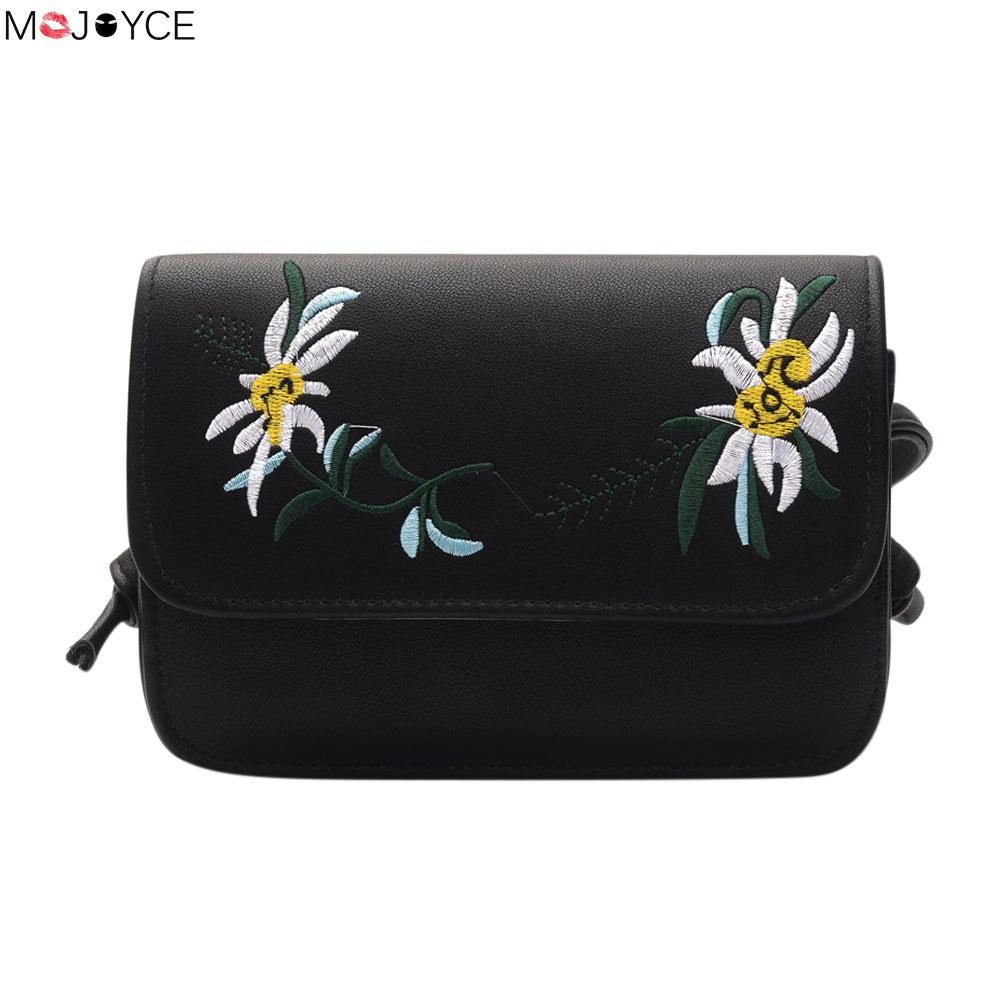 Embroidery Chic PU Handbags Women Leather Crossbody Handbag Mini Women Messenger Bags Small Shoulder Bag Female Clutch Bolsa fashion handbags pu leather women shoulder bag mickey big ears shell sweet bow chains crossbody female mini small messenger bag