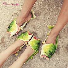 WEIXINBUY Paternity Fish Sandals Personality Shoes Sandals Fish Slippers Mens Flip Flops Beach Strange Slippers Sandal