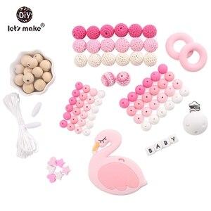 Image 5 - Lets Make accesorios para mordedores de bebé, cuentas de silicona, helado, Clip de madera para chupete de pájaro, joyería DIY, collar de dentición de enfermería