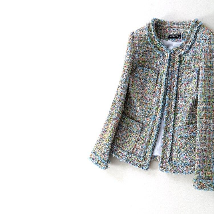 Women fashion elegant formal jacket colorful chain tassel small pockets tweed outerwear new 2018 spring autumn blue
