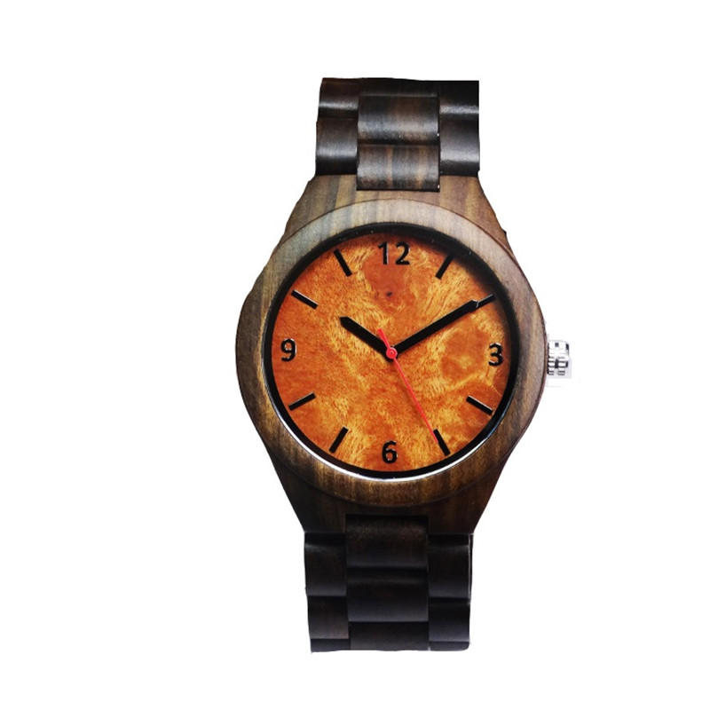 Wooden Watches For Men With Black Watchband With Janpan Movment Quartz Wristwatch In Box