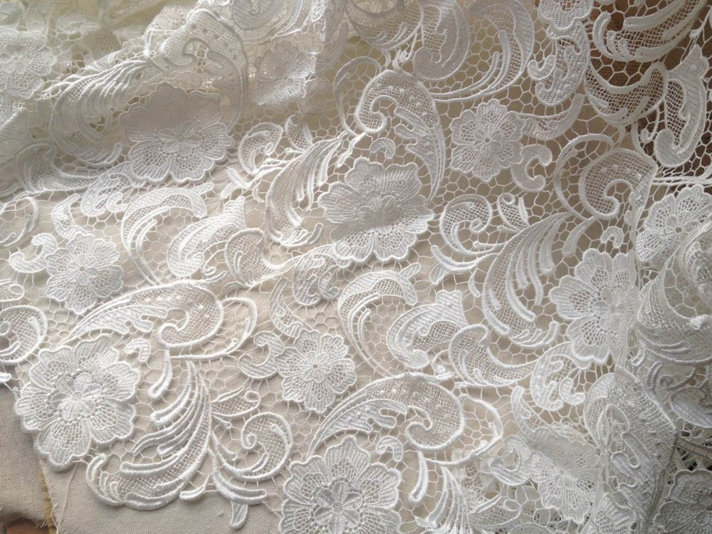 Buy white black venice lace fabric for Wedding dress fabric stores