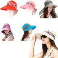 Elegante Diseño Sombreros de Verano Para Mujeres Chapeu Feminino Nueva Moda Al Aire Libre Viseras Casquillo Del Sol Plegable Sombrero Anti-Ultravioleta 6 Colores