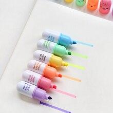 48 pçs/lote mini cápsula iluminadora incrível, marcador facial canetas papelaria material de escritório escola rotulador canetas f869