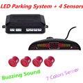 Car LED Parking Sensor Kit Display 4 Sensors Parking Assistance Buzzing Sound 22mm 12V for All Cars Reverse Backup Radar System