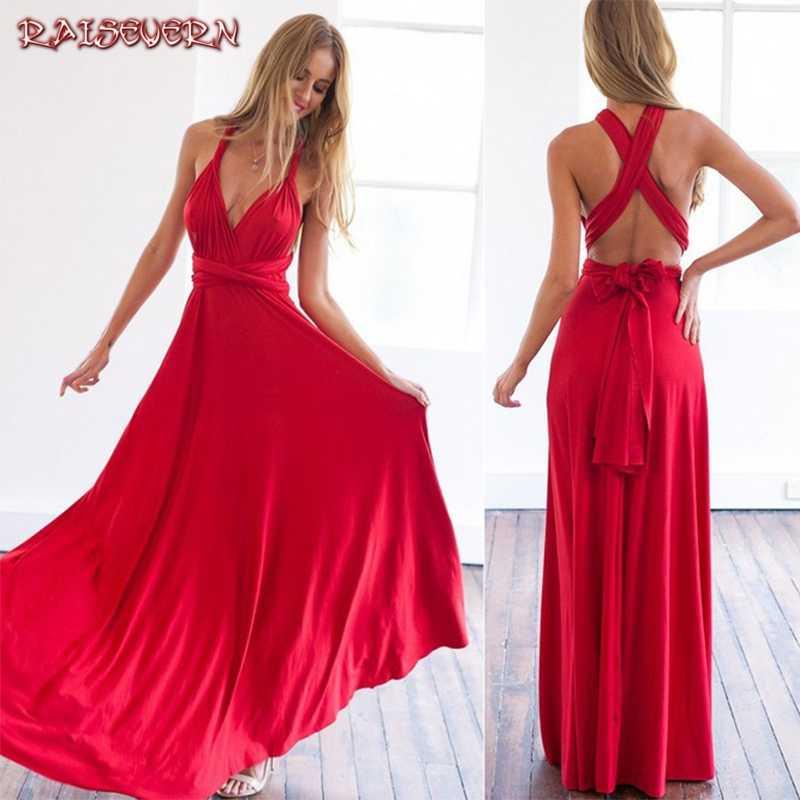 ผ้าพันคอผู้หญิงเซ็กซี่ Maxi ชุดสีแดงยาวชุด Multiway เพื่อนเจ้าสาวรถ Wrap Party Robe Longue Femme Plus ขนาด