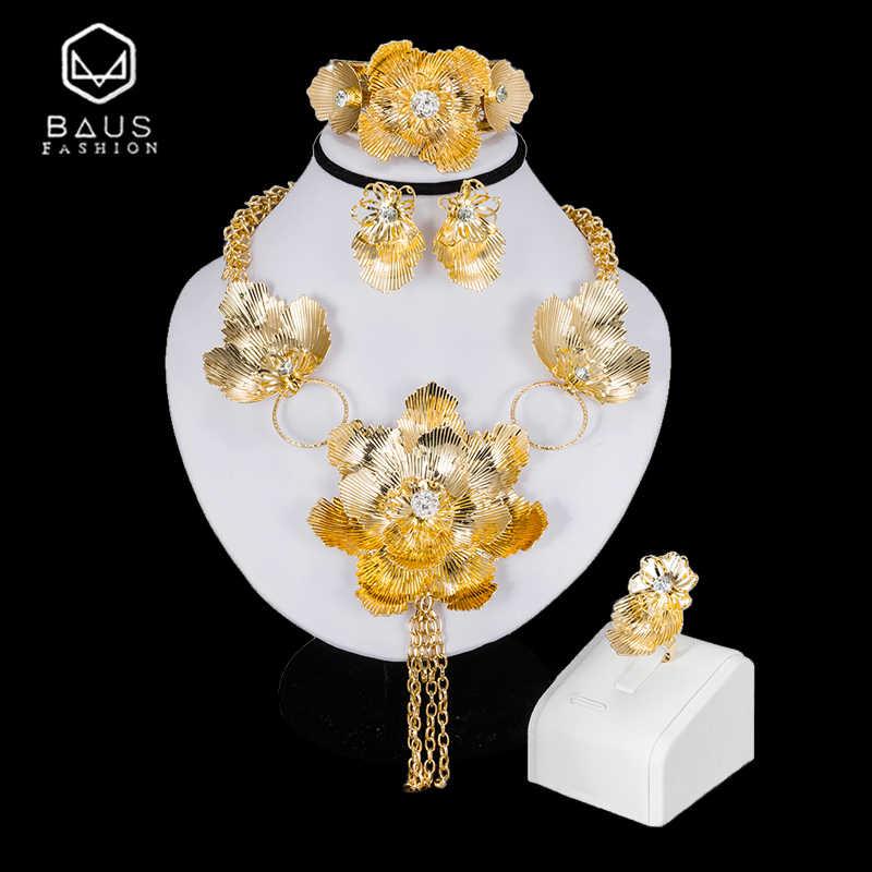 BAUS Indischen schmuck 2018 mode Dubai Gold Farbe Hochzeit Schmuck-Set Braut Geschenk big Nigerianischen Hochzeits Afrikanische Perlen Schmuck-Set