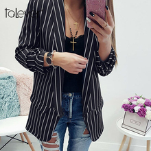 Fashion Autumn Women Striped Print Blazer Ladies Wear Casual Black White Office Thin Outwear Elegant Lady Slim Blazer Talever