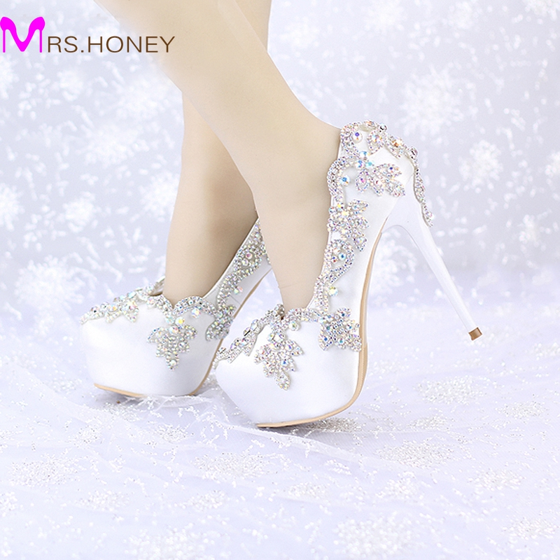 Satin Wedding High Heels AB Color Crystal Round Toe Bridal Dress Platform Shoes Banquet Pageant Party Pumps Single Shoes akine eshete assessment of risky sexual behavior and parental communication