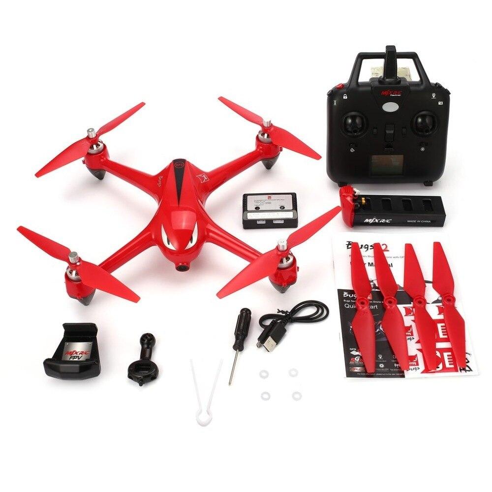 MJX B2W 2.4G 4CH Wifi FPV 1080 P HD caméra Drone maintien de l'altitude retour automatique sans tête mode RC quadrirotor avec GPS