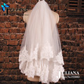 Free Shipping Voile Mariage Custom Made Wedding Accessories 2015 Summer Style Lace Edge Velos De Novia Short Bridal Veils