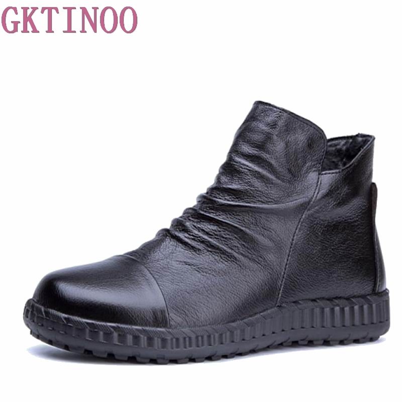 GKTINOO Genuine Leather Women Ankle Boots Autumn Solid Women Martins Boots Casual Winter Shoes Flat Boots Woman 2017 handmade casual women shoes genuine leather women boots martins spring