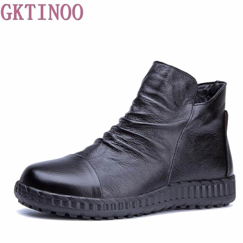 GKTINOO en cuir véritable femmes bottines automne solide femmes bottes décontracté hiver chaussures bottes plates femme