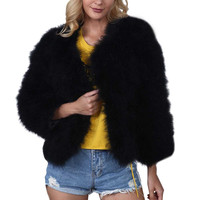 Lanxirui Fur Natural Color Faux Fur V Neck Wide Waisted Covered Button Full Fur Floating Hair Jacket Fur Vests Coat Nov27