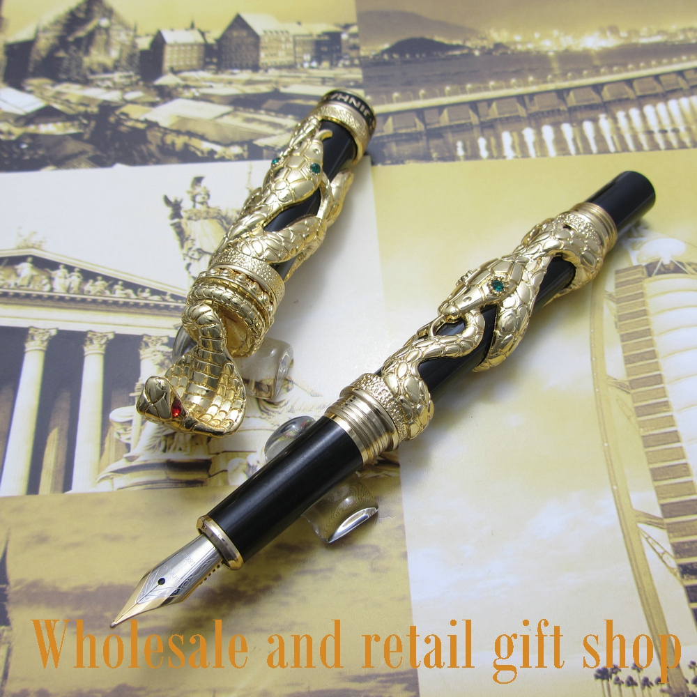 jinhao J01 snake type Fountain Pen with gift box White 3d-model Cobra metal gift ink pen недорго, оригинальная цена
