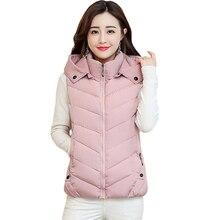 Осень-зима жилет Для женщин жилет женский без рукавов куртка капюшон Теплый короткий жилет верхняя одежда Colete Feminino Плюс Размеры 3XL D332