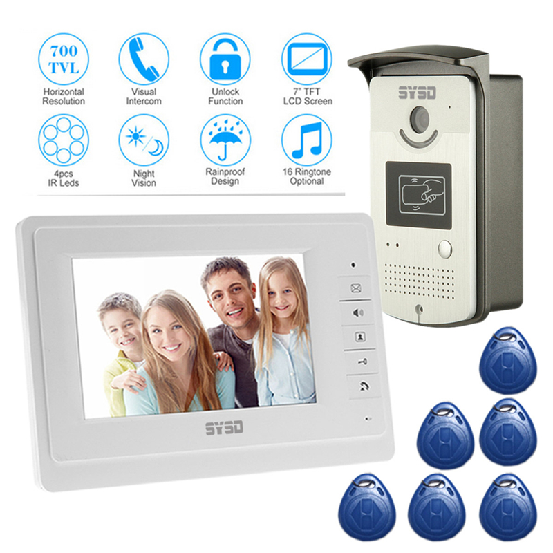 Free Shipping 7'' Monitor Speakerphone Video Intercom System Video Door Phone Doorbell Access Control System Doorphone Camera