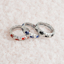 High Quality Dog Cat Paw print Silver Color Rhinestone Ring For Women Girls Finger Love Heart Animal Jewelry
