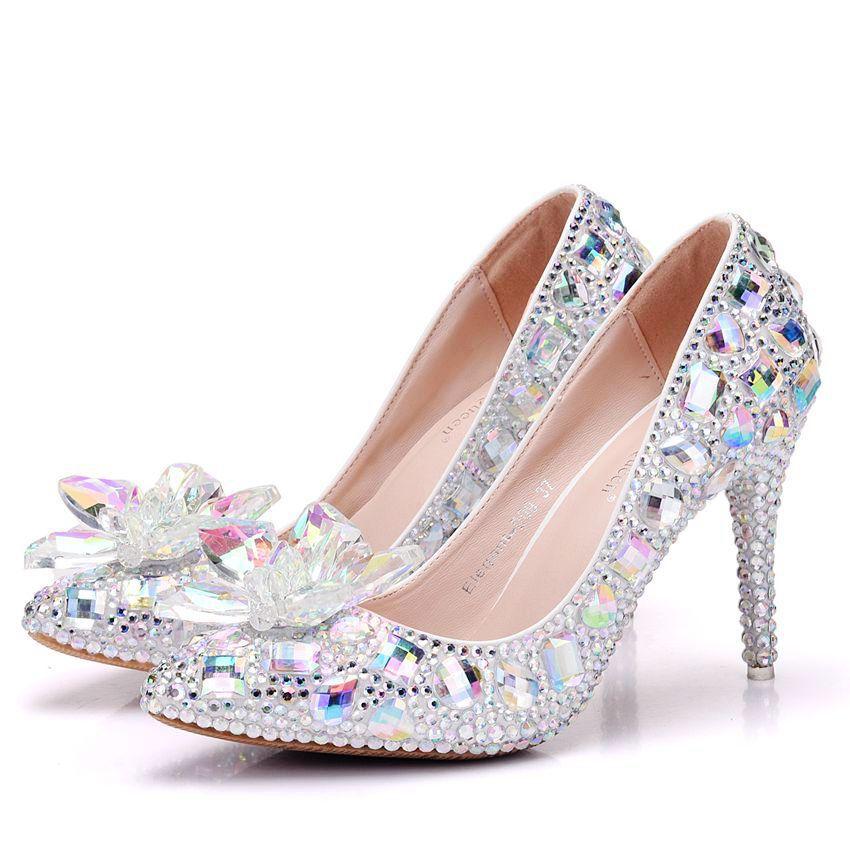 Bout Nouveau Strass Mariage Hauts Talons Élégante Blanc Pointu Pompes Femmes Cm Cendrillon Chaussures Mariée Cristal Femme 9 5 De gqx47Sg