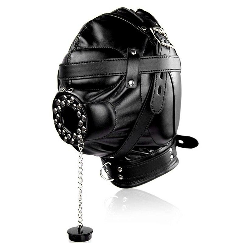 Голова Кожа жгут полиуретановая маска капюшон рот Даг БДСМ костюм фетиш бондаж регулируемый - Цвет: PG0188