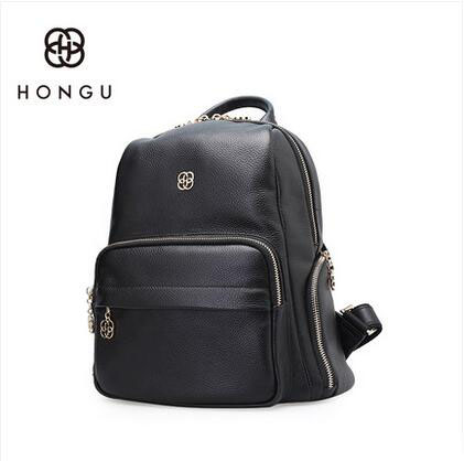 HONGU 2018 new autumn and winter fashion first layer leather shoulder bag leather wild casual female travel bag large backpack D 2017 autumn and winter new female bag of