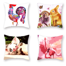 Watercolor Creative Animal Color Pillowcase Cat Mat Dog Elephant Couple Rabbit Cushion Cover Bird Sprouting Pig Red Bed