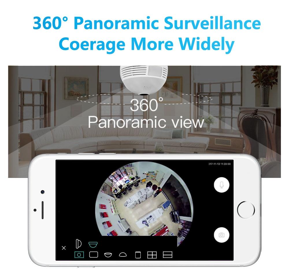 Wistino Wireless IP Camera Bulb Light WiFi 960P VR Panoramic FishEye Lamp Cameras CCTV Security Home Baby Monitor 360 Degree Night Vision (18)