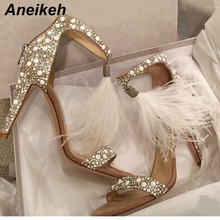 Women Sandals Pumps-Shoes Fringe Rhinestone Wedding High-Heel Zipper-Feather Aneikeh