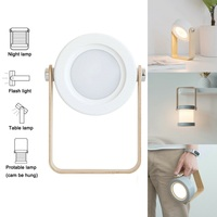 Foldable LED Table Lamp Portable Lantern Night Light USB Rechargeable Desk Reading Lamps Bedroom Bedside Lights Wood Decoration