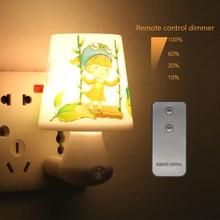Noche Led lámpara de luz 0.5 W AC220V blanco / caliente blanco con mando a distancia Dimmer Nightlight bebé para los niños dormitorio, pasaje