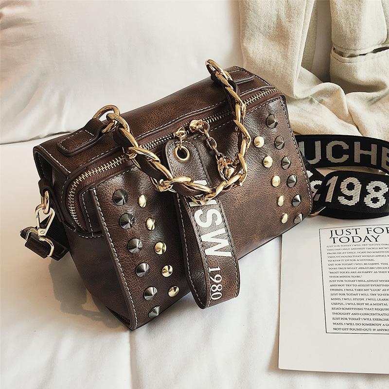 Women Rivet Bags Chain Hand Strap Handbag 2018 Pillow Shoulder Bag Zipper Pendant Handbags New Fashion Luxury Designer PU Ladies